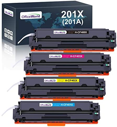 OfficeWorld 201X Toner Replacement for HP 201X 201A CF400X CF400A Toner Cartridges for HP Color Laserjet Pro MFP-M277DW M252DW M277N M274N M252N M277 M274 M252 (4 Pack)