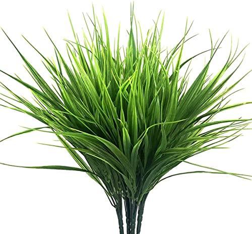 Ymwave 4 szt. zielone sztuczne plastikowe krzewy sztuczna trawa pszeniczna sztuczne zielone rośliny na zewnątrz główny stół kuchnie biuro ślub ogród dekoracja