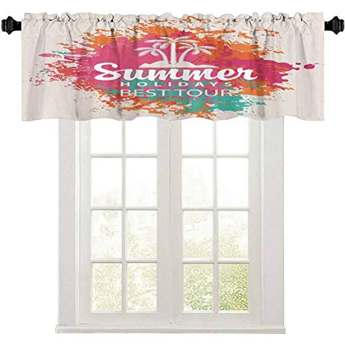 """Aishare Store Rod Pocket Kitchen Valance Curtain, Summer Holidays Best Tour Lettering with Palm Tree Island Rainbow Colored Image, 1 Panel 50"""" W x 18"""" L Small Window Valance Curtains Home Decor"""