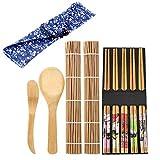 DBAILY Kit Sushi, 2 Set Natural Primera Calidad Kit Hacer Sushi Bambú para Principiantes Amantes DIY (4 Tapete Sushi 10 Pares Palillos 2 Cuchillo Bambú 2 Cuchara 2 Bolsa Palillos)