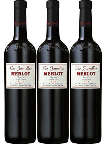 Merlot Vin de Pays d´Oc Les Jamelles VdP Rot trocken (3er Pack x 0,75 Ltr.)