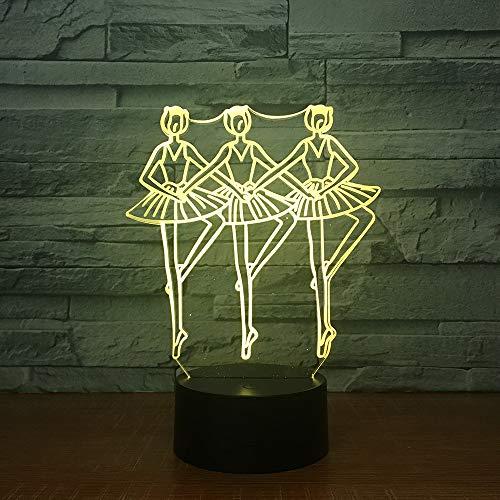 3D Illusion Nachtlicht, Walzer Tango Langsamer Foxtrott Led Lampe, Baby Schlafzimmer Schlaf Lichter, 16 Farben Touch Tischleuchte,Kinder Spielzeug Beste Geburtstag Weihnachtsgeschenk Für Kinder