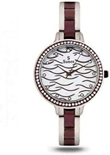 Sunex watch for women, analog, stainless steel, white dial, S6511CW