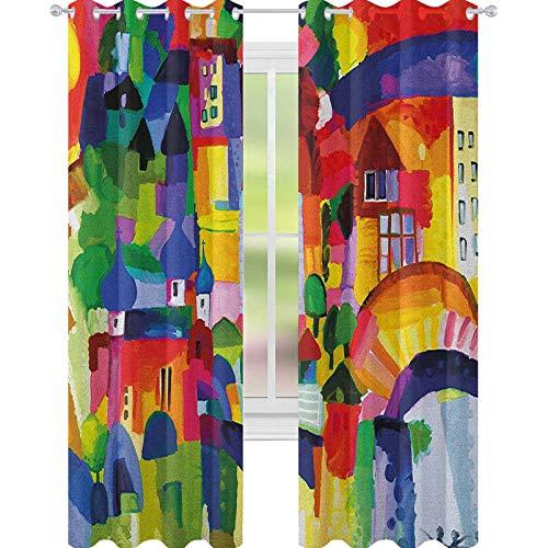YUAZHOQI Art Cortina opaca para ventana moderna y abstracta arquitectónica, edificios urbanos, casas de pueblo, cortinas para puertas francesas, 132 x 274 cm, multicolor