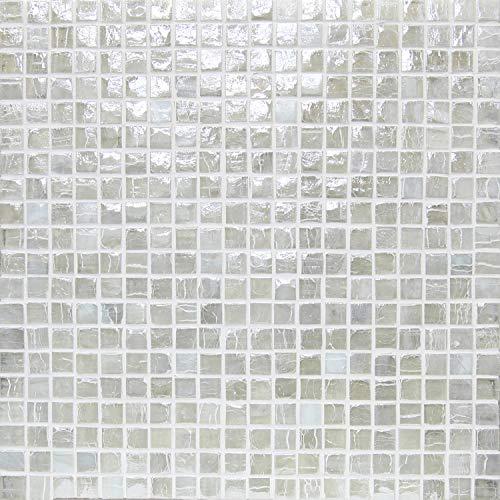 (アーバンイリジウム) アーバンホワイト(15mm角 白 ガラスモザイクタイルシート)小口出荷【1シート】
