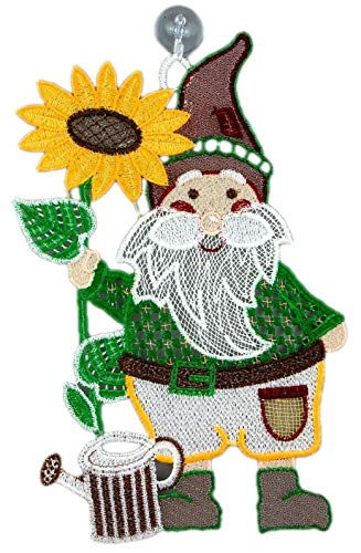 Plauener Spitze Fensterbild Gartenzwerg 17x27 cm + Saugnapf Sonnenblume Spitzenbild Fensterdeko Sommer Herbst