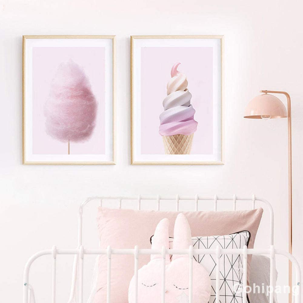 DASHBIG Nordic Canvas Painting Art Marshmallows Pink Ice P Super sale Cream Brand Cheap Sale Venue