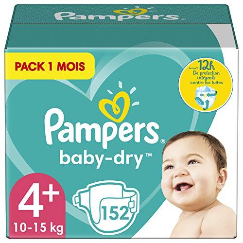 Pampers Couches Baby-Dry Taille 4+ (10-15kg) Jusqu'à 12h Bien Au Sec et Avec Double-Barrière Anti-Fuites, 152 Couches (Pack 1 Mois)