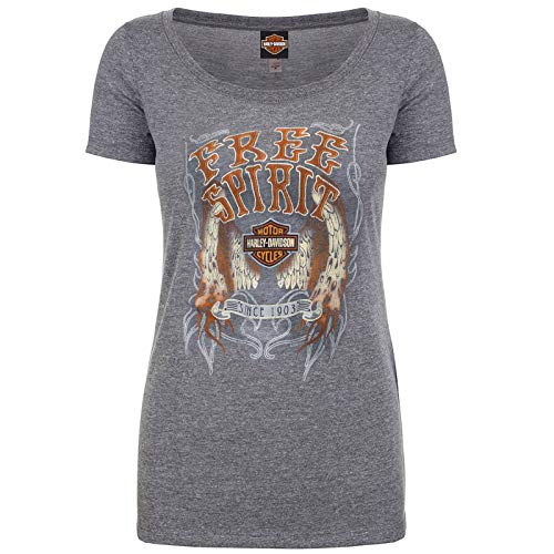 Harley-Davidson Military – Camiseta de manga corta para mujer, diseño de alas de llama - Gris - Large