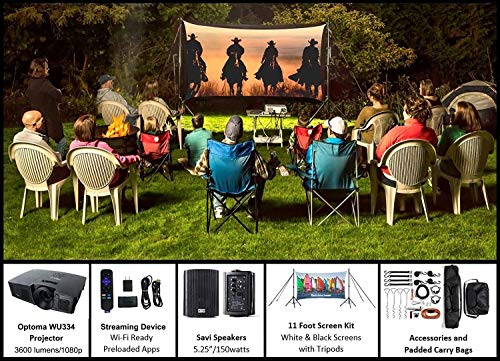 Recreation Series Complete Theater Kit! 11' Front and Rear Projection Screen with HD Optoma 1080p Projector, Sound System & Streaming Device w/WiFi (EZ-300)