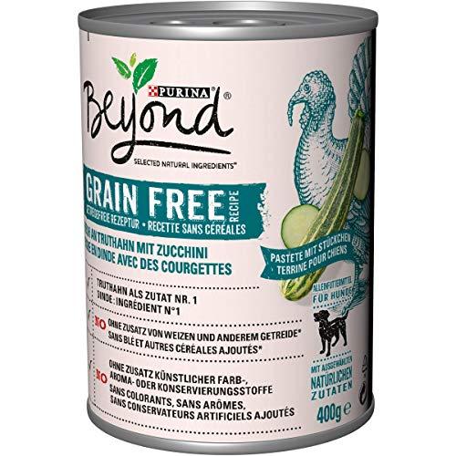 PURINA BEYOND Premium-Hundenassfutter getreidefrei, mit Truthahn und Zucchini, 6er Pack (6 x 400 g Dose)
