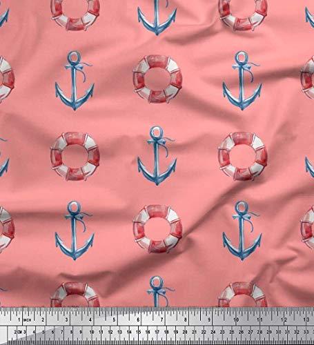 Soimoi Orange Baumwolle Ente Stoff Rettungsring & Ankerhaken nautisch Dekor Stoff gedruckt 1 Meter 56 Zoll breit