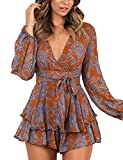 Relipop Women's Jumpsuit Floral Print V Neck Baggy Sleeve Waist Tie Double Layer Ruffle Hem Short Mini Dress Romper Orange