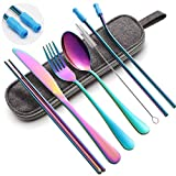 Reusable Portable Utensils,Travel Utensils Set with case Stainless Steel Flatware Set Camping Cutlery Set Colorful 8pcs Including Fork Spoon Chopsticks Cleaning Brush Straws(Rainbow)