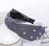 Yppss 2 Piezas Raya Impreso Hairbands nacarado Mujeres Accesorios del Pelo del Bowknot Lazo Cruzado Ancho de Lado Diadema Azul Marino