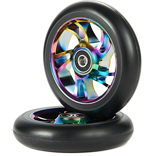 100mm Scooter Wheels - Pro Scooter Wheels 100mm Pair - Neo Oil Slick 100mm Metal Scooter Wheels Replacement - Pro Scooter Wheels 100mm - 24mm x 100mm...