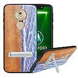 HHDY Coque pour Motorola Moto E5 /G6 Play, Etui Bois avec Support Béquille Métal, Coque en Bois...