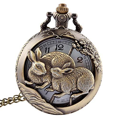 Moda retro Retro bronce conejo hueco cuarzo bolsillo reloj collar fob cadena reloj colgante hombres hombres regalos Regalo para el cumpleaños del día del padre ( Color : Show as the picture )
