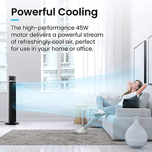 Pro Breeze Oscillating 40-inch Tower Fan, Powerful 45W Motor Portable Fan, 3 Cooling Fan Speeds, 4 Operational Modes and 15 Hour Timer for Home & Office - Black