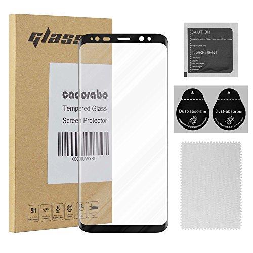 Cadorabo Panzer Folie voll klebend für Samsung Galaxy S8 - Schutzfolie in TRANSPARENT mit SCHWARZ – Gehärtetes Full Glue (Tempered) Display-Schutzglas in 9H Härte mit 3D Touch Kompatibilität