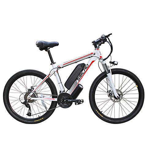 Hyuhome Electric Bicycles for Adults, 360W Aluminum Alloy Ebike Bicycle Removable 48V/10Ah Lithium-Ion Battery Mountain Bike/Commute Ebike,white red