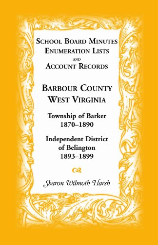 School Board Minutes, Enumeration Lists and Account Records, Barbour County, West Virginia: Township of Barker, 1870-1890; Independent District of Belington, 1893-1899