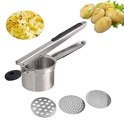 Mystery Kartoffelpresse Professionelle Kartoffelpresse Multifunktions Kartoffel Ricer und Vertikal mit 3 austauschbaren Edelstahlscheiben - Obstpresse für Kartoffelpüree, Soßen und Säfte
