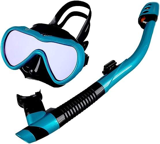 WZHGLASSES Lunettes De Plongée Adulte étanche Anti-Brouillard Mirror Full Dry Snorkel Snorkeling Costume pour Vacances Natation Plage Surf Multi-Couleur