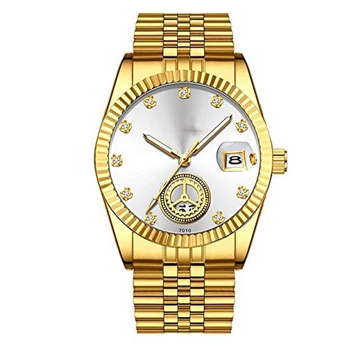 HONGXIGUAN kwarts-polshorloge vol staalgoud luxueuze zakenman past klassiek casual horloge diamant selectieknop men-horloge op