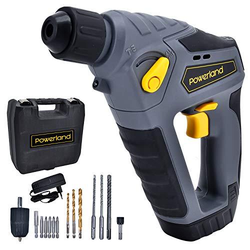 Powerland HD02 14.4/16V Akku-Hammer Akku Bohrhammer SDS-plus mit Pneumatischem Hammerwerk 3 in 1 Funktion Litium-Ionen Batterie