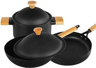 Cazuela 3 piezas de utensilios de cocina antiadherente Set - aluminio durable Ollas y sartenes con Utensilios de Cocina - Horno Multi Segura Quart esmaltados cacerolas hornos holandeses y SARTENES con