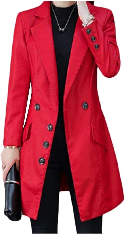 Doanpa Womens Regular Fit Pinstripe Leather Lapel Trench Coat Moto Jacket