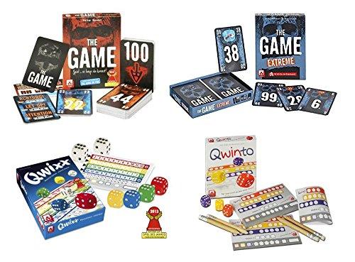 Danto® Großes Spiele-Set mit Würfelspielen QWIXX und QWINTO, sowie den Kartenspielen The Game und The Game Extreme als Spiele-Vorteilspack