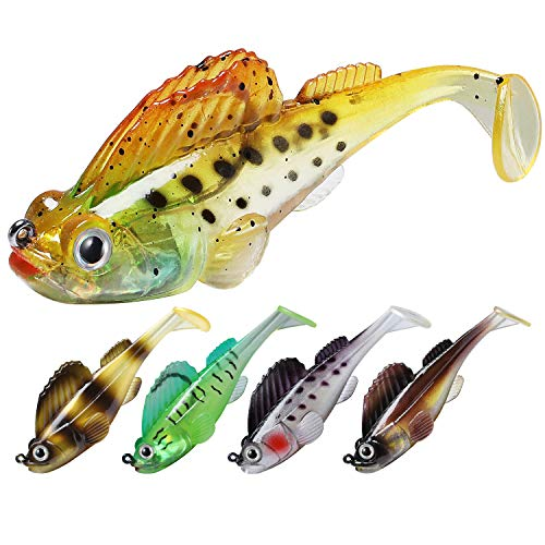 TRUSCEND Fishing Lures for Bass Trout 10/6PCS Jighead Lures Paddle Tail Swimbaits Soft Fishing Baits...