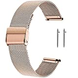 SmartDaily Rose Gold Watch Strap for Women, 18mm Stainless Steel Watch Band Milanese Mesh, Women's Watch Bracelet Replacement Quick Release (2 x Pins)
