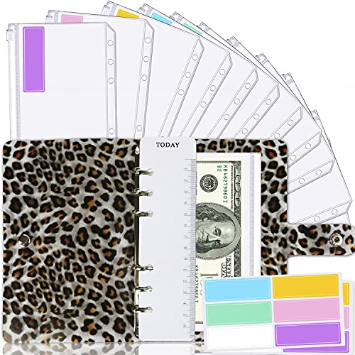 Leopard A6 Binder Cover and 12 Clear Envelopes, Budget Binder with Cash Envelopes for Budgeting, Binder Pockets Cash Envelope Wallet, Budget Planner Organizer, Cash Envelope Binder Budget Envelopes