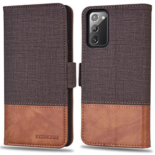 KEZiHOME Samsung S20 FE - Funda para Samsung Galaxy S20 FE [protección RFID] [función atril] [magnética] de piel sintética con tapa antigolpes para Galaxy S20 FE 5G (6,5 pulgadas) (marrón/marrón)