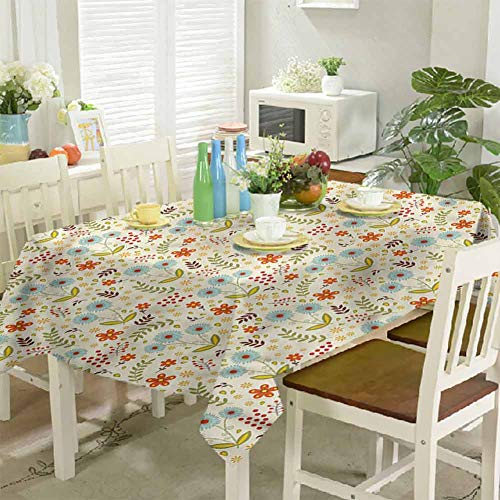 KaMiao Table Cover Dandelions Daisies Twigs 60'x120' Modern Rectangle Tablecloth