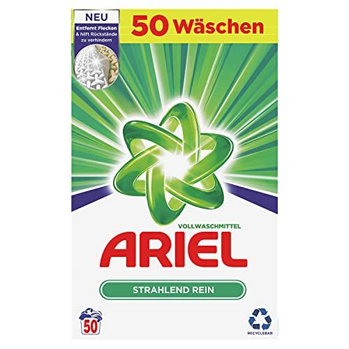 Ariel Waschmittel Pulver Waschpulver, Vollwaschmittel, Strahlend Rein, 50 Waschladungen (3.25 kg)