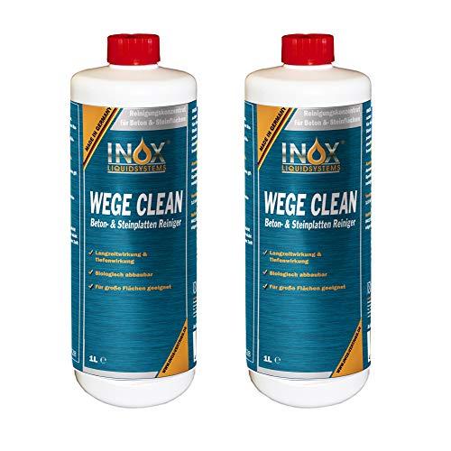INOX® Wege Clean SteinreinigerKonzentrat, 2 x 1L - Gründbelagentferner, Algenentferner für Außenbereich