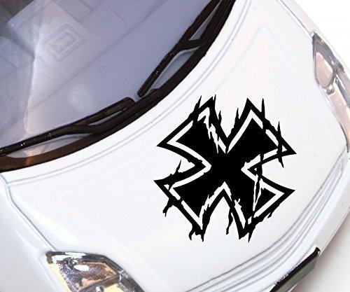 Autoaufkleber XXL Eisernes Kreuz Auto Aufkleber Tuning Sticker Bundeswehr Look Kette Iron Cross Oldschool Car 2P083, Hohe:80cm;Farbe XXL:Weiß Matt
