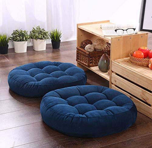 NSYNSY Cojín de asiento redondo para el suelo, gamuza elástica espesar para yoga, patio, oficina, exterior, cojín decorativo de algodón, 1 pieza, color azul, 55 x 55 x 10 cm