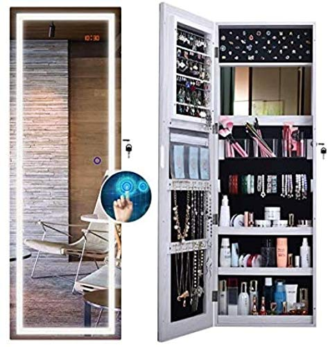 Wall Hanging Jewellery Cabinet Smart LED Light Mirror Lockable Armoire Large Jewelry Storage Organizer 40x120x12.3cm Perfect