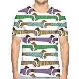Mens 3D Printed T Shirts,Cartoon Style Dachshunds Dressed In Pyjamas Chevron Lines Polka Dots and Hearts L