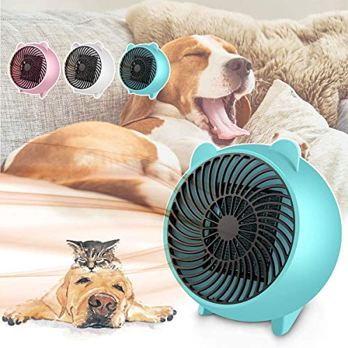 Electric Heater Fan, 500W Ceramic Fan Heaters, with PTC Ceramic Heating Element & Overheat Protection, Quiet & Constant Temperature, for Home Office Camping Tent,1.Blue