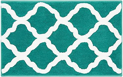 Pauwer Alfombrilla de baño de microfibra, antideslizante, absorbente, lavable, para cuarto de baño, salón (esmeralda, 53 x 86 cm)
