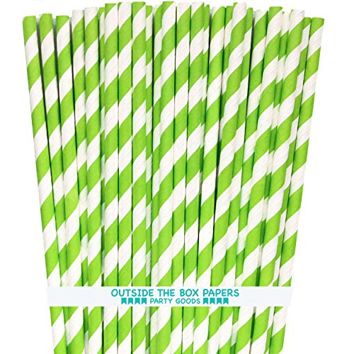Stripe Paper Straws - Lime Green White - 7.75 Inches - Pack of 100 - Outside the Box Papers Brand