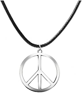 AY Peace Sign Symbol Necklace Simple Silver Peace Pendant Women Choker Jewelry