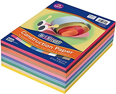 """Pacon Lightweight Super Value Construction Paper P6555, 9"""" x 12"""", 10 Assorted Colors, 500 Sheets"""