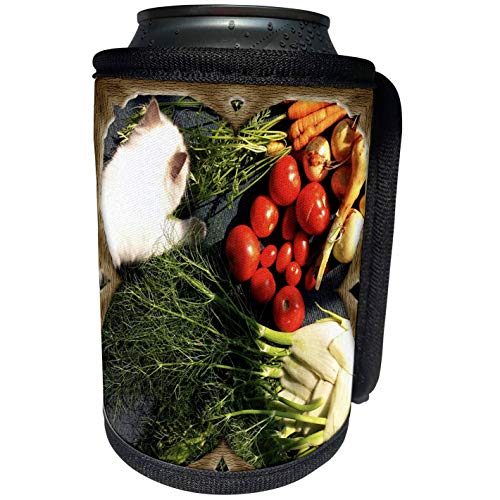 3dRose My Animal Babies - Natures Best Blessings - Kitten with Vegetables - Can Cooler Bottle Wrap (cc_195395_1)